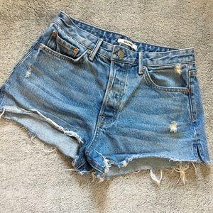 GRLFRND Denim Distressed Shorts